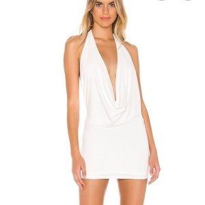 Superdown white halter sparkle dress